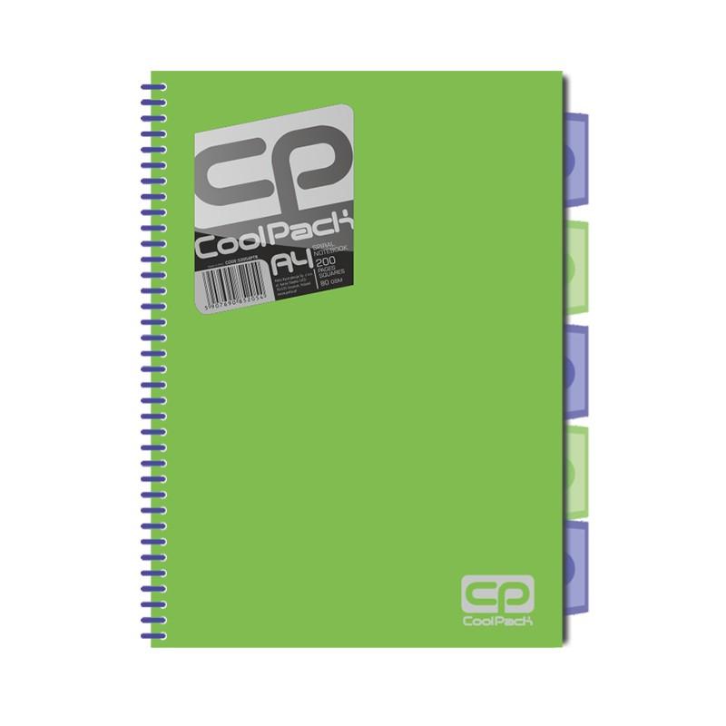 Spiraalköitega kaustik Patio Jumper Neon A4, 200 lehte, 5 vahelehte, ruuduline, sinine