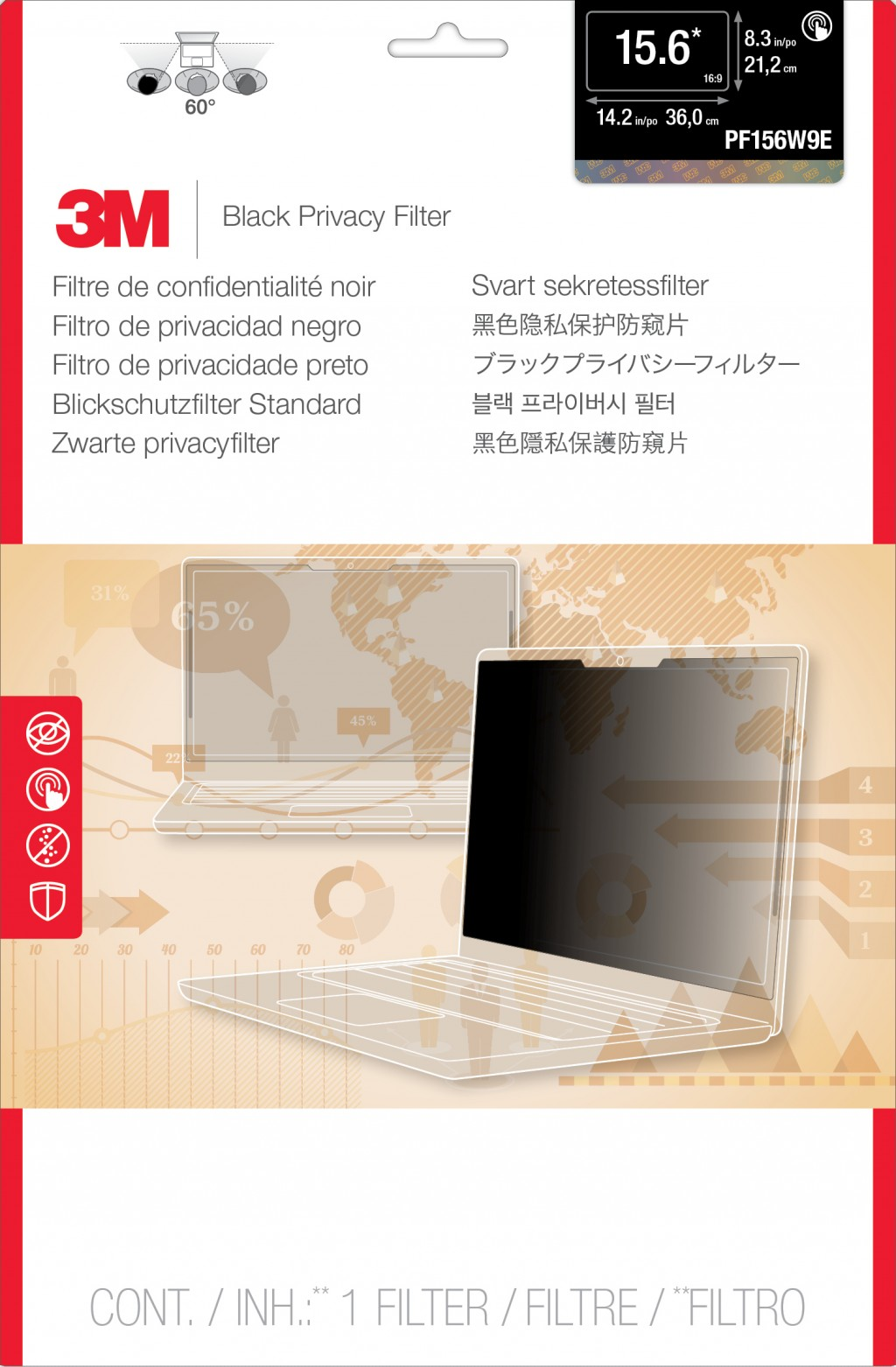 "3M PF156W9E Raamideta ekraani privaatsusfilter 39,6 cm (15.6"")"