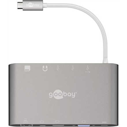 35bb0d05a94 Goobay USB-C All-in-1 Multiport Adapter 62113 USB Type-C, 0.13 m, Silver