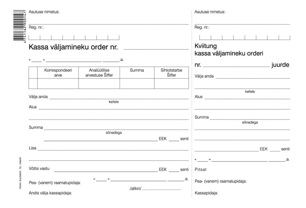 Kassa väljamineku order A5 laiuti, 100 lehte