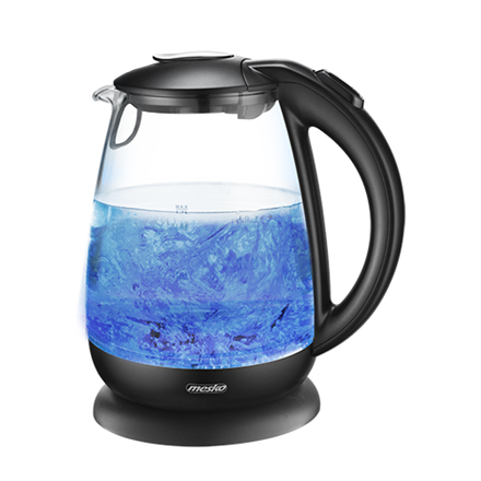 Mesko Kettle MS 1263 Standard, Glass, plastic, Black/ glass, 2200 W, 360° rotational base, 1.7 L