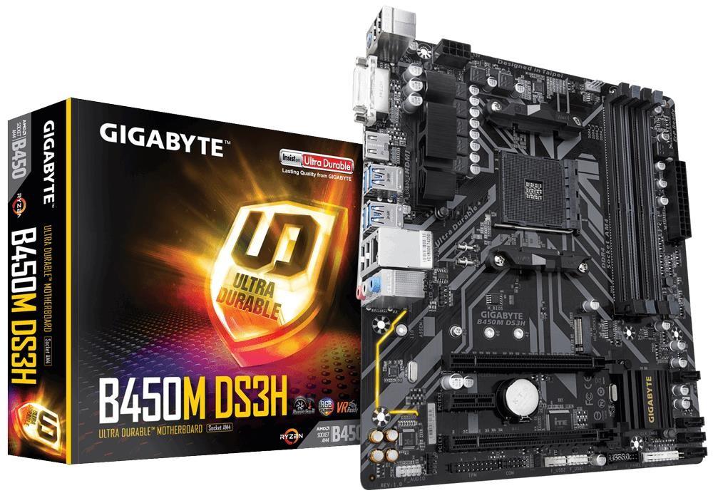 Mainboard|GIGABYTE|AMD B450|SAM4|MicroATX|1xPCI-Express 1x|2xPCI-Express 16x|1xM.2|Memory DDR4|Memory slots 4|1xDVI|1xHDMI|1xAudio-In|1xAudio-Out|1xMicrophone|4xUSB 2.0|4xUSB 3.1|1xPS/2|1xRJ45|B450MDS3H