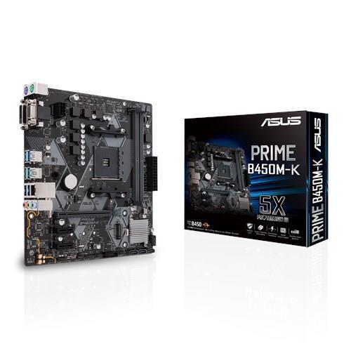 Mainboard|ASUS|AMD B450|SAM4|MicroATX|2xPCI-Express 2.0 1x|2xPCI-Express 3.0 16x|1xM.2|Memory DDR4|Memory slots 2|1x15pin D-sub|1xDVI|1xAudio-In|1xAudio-Out|1xMicrophone|6xUSB 3.1|2xPS/2|1xRJ45|PRIMEB450M-K