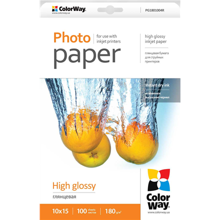 ColorWay Photo Paper 100 pc. PG1801004R Glossy, 10 x 15 cm, 180 g/m²
