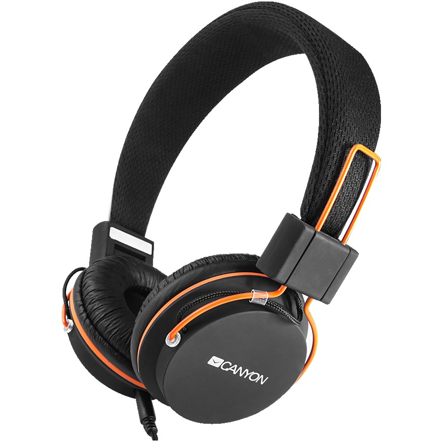 CANYON headphones, detachable cable with microphone, foldable, black, cable length 1.2m, 0.118kg, Black