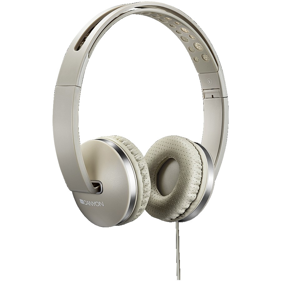 CANYON Stereo headphone with microphone and switch of answer/end phone call, cable 1.2M, Beige, 175*70*175mm, 0.14kg