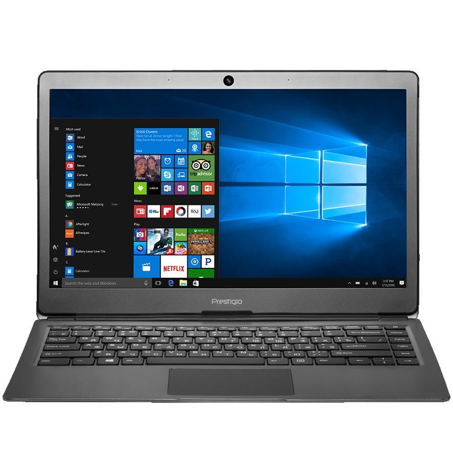 "Prestigio SmartBook 133S, 13.3""(1920*1080) IPS(anti-Glare), Windows 10 Pro 64 bit, up to 2.4GHz DC Intel Celeron N3350, 4GB DDR, 32GB Flash, BT 4.0, WiFi, Micro HDMI, SSD slot(M.2), 0.3MP Cam, EN+RU kbd, 5000mAh, 7.4V bat, Dark grey"