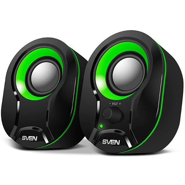Speakers SVEN 290, black-green (5W,USB), SV-015657