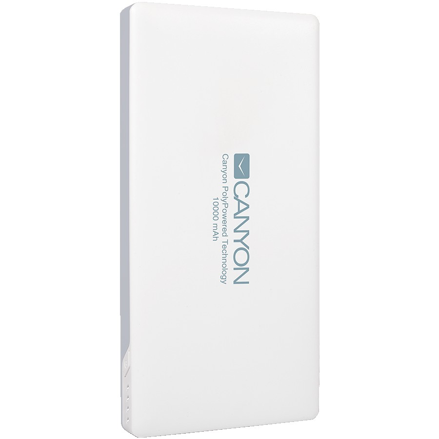 CANYON PB-101 Power bank 10000mAh Li-polymer battery,with Smart IC, Input 5V/2A, Output 5V/2A(Max), 137.5*69*15.8mm, 0.23kg, White