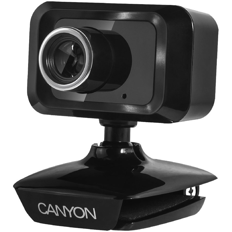 CANYON C1 Enhanced 1.3 Megapixels resolution webcam with USB2.0 connector, viewing angle 40°, cable length 1.25m, Black, 49.9x46.5x55.4mm, 0.065kg