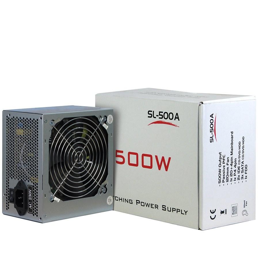Power Supply INTER-TECH IT-SL500 AC 230V, 50/60Hz, DC 3.3/5/±12V, 500W, Retail, Passive PFC, 1x120