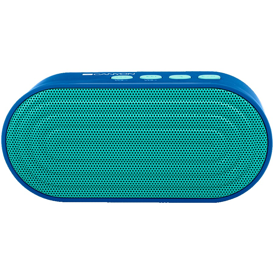 CANYON EOL Portable Bluetooth V4.2+EDR stereo speaker with 3.5mm Aux, microSD card slot, USB / micro-USB port, bulit in 300mAh battery, Dark blue, cable leagth 0.25m, 120*55*40mm, 0.17kg