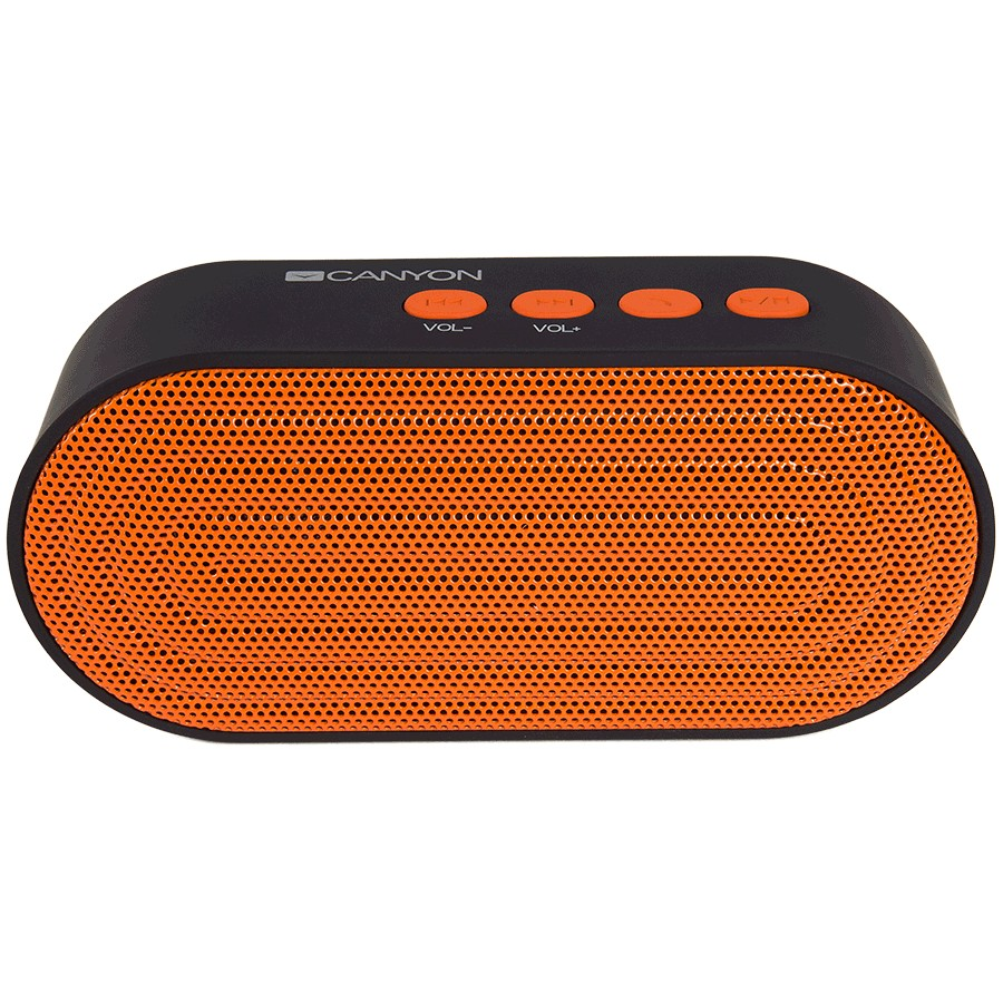 CANYON Portable Bluetooth V4.2+EDR stereo speaker with 3.5mm Aux, microSD card slot, USB / micro-USB port, bulit in 300mAh battery, Black orange, cable leagth 0.25m, 120*55*40mm, 0.17kg