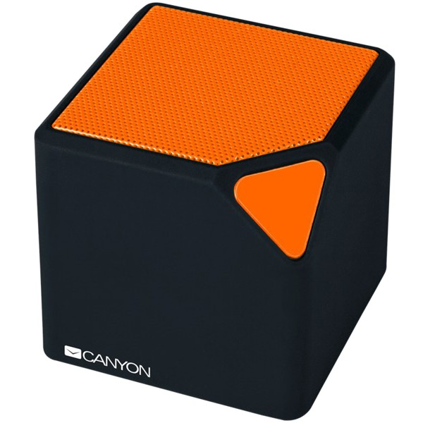 CANYON Portable Bluetooth V4.2+EDR stereo speaker with 3.5mm Aux, micro-USB port, bulit in 300mAh battery, Black orange, cable leagth 0.25m, 52*52*52mm, 0.137kg