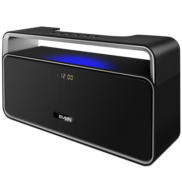 Speaker SVEN PS-185, black (10W, Bluetooth, FM, USB, microSD, LED-display, clock, alarm, 2000mA*h), SV-015893