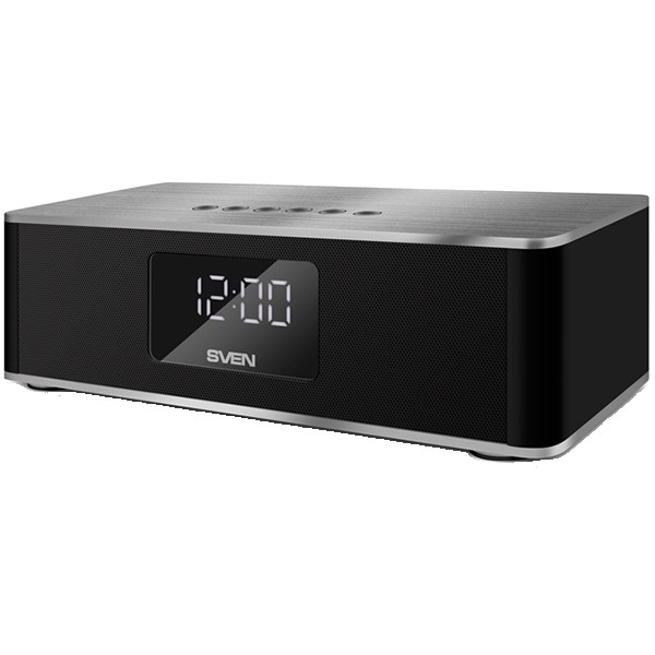 Speaker SVEN PS-190, black (10W, Bluetooth, FM, USB, microSD, LED-display, clock, alarm, 2000mA*h), SV-015909