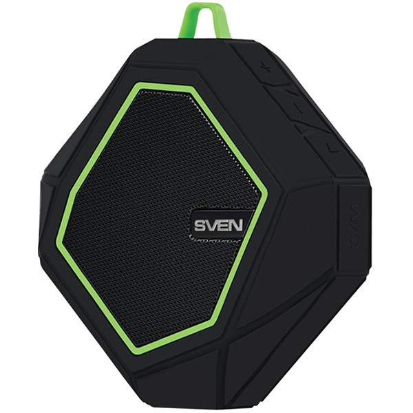 Speaker SVEN PS-77, black-green (5W, Waterproof (IPx5), Bluetooth, microSD, FM, 600mA*h), SV-016463