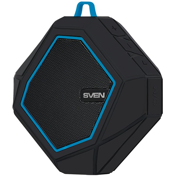 Speaker SVEN PS-77, black-blue (5W, Waterproof (IPx5), Bluetooth, microSD, FM, 600mA*h), SV-016432
