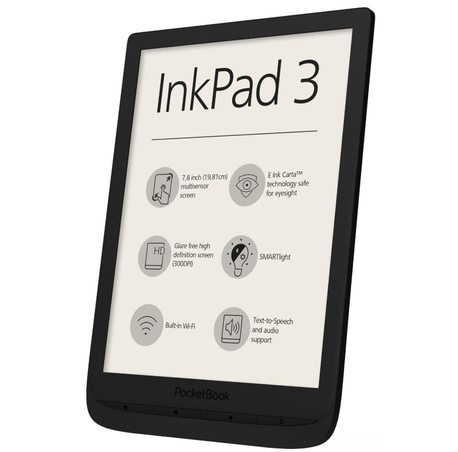"E-Reader|POCKETBOOK|InkPad 3|7.8""|1872x1404|Memory 8192 MB|1xAudio-Out|1xMicro-USB|Micro SD|Wireless LAN 802.11b/g/n|Black|PB740-E-WW"