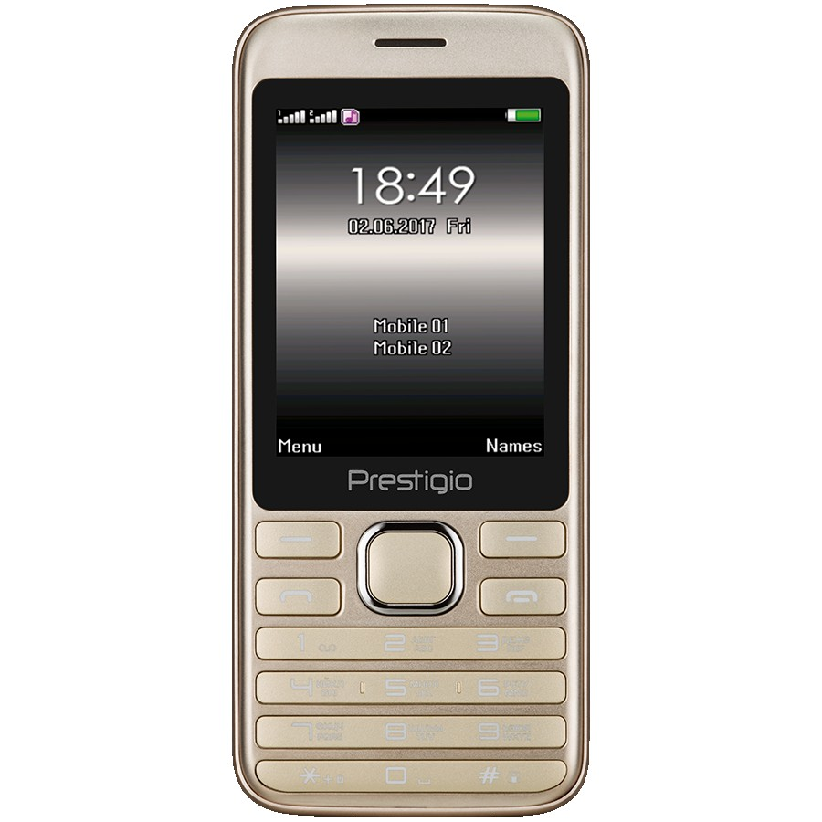 Prestigio Grace A1, 2.8'' (240*320) display, Dual SIM, MT6261D, GSM 900/1800, 32MB DDR, 32MB Flash, micro SD cards support up to 32GB, 0.3MP rear camera, Bluetooth, FM, 950mAh battery, EN+RU keyboard, color/Gold