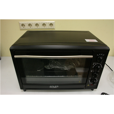 SALE OUT. Adler AD 6010 Electric oven, Capactity 45L, Power 2000W, 3 heating modes, Timer, Rotisserie and convection functions, Black -  Adler AD 6010 45 L, Mini Oven, 2000 W, Black, DAMAGED PACKAGING, TORN PLASTIC BAG, MISSING ACCESSORIES (grill rack, baking tray, rotisserie)