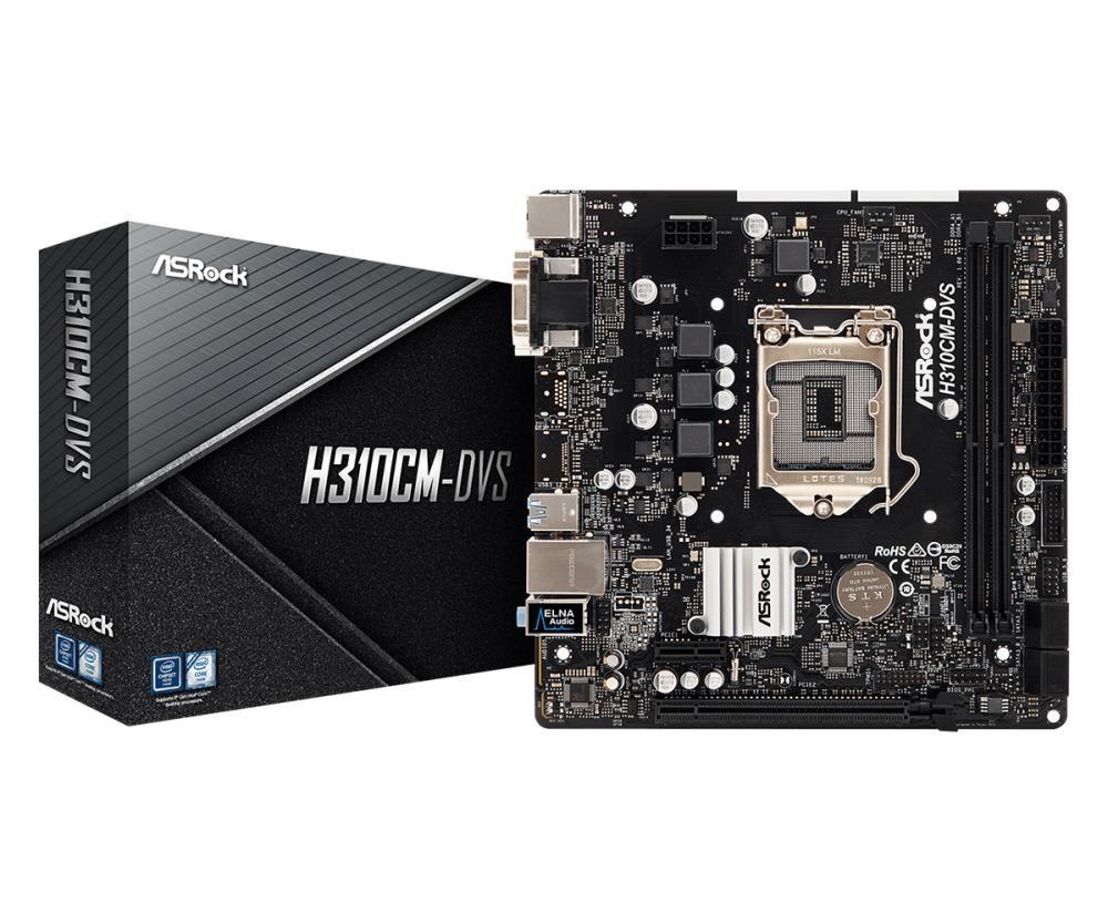 Mainboard ASROCK Intel H310 Express LGA1151 MicroATX Memory DDR4 Memory slots 2 1x15pin D-sub 1xDVI 1xAudio-In 1xAudio-Out 1xMicrophone 4xUSB 2.0 2xUSB 3.1 1xPS/2 1xRJ45 H310CM-DVS