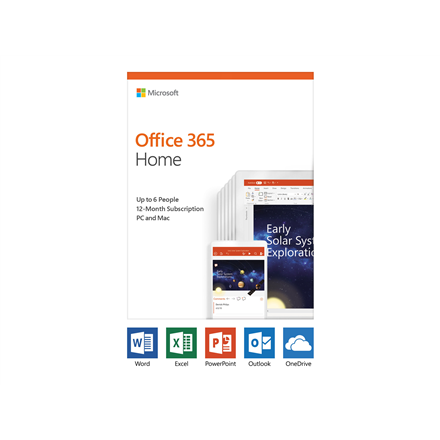 Microsoft Office 365 Home 6GQ-01076 Up to 6 people, License term 1 year(s), English, Medialess P4