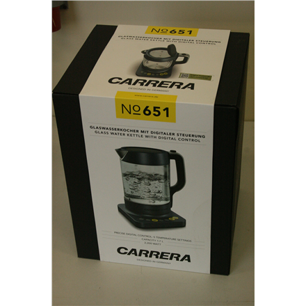 b2c6068f957 SALE OUT. Carrera 651 Water Kettle, 2200W, capacity 1,7L, black/glass  Carrera Kettle 651 With electronic control, Glass, Glass/ black, 2200 W, ...