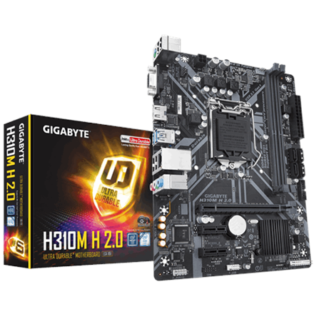 Gigabyte H310M H 2.0 Processor family Intel, Processor socket LGA1151, DDR4 DIMM, Memory slots 2, Chipset Intel H, Micro ATX