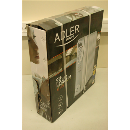 SALE OUT. Adler AD 7809 Oil Filled Radiator, 2500 W, Number of power levels 2, White, MISSING  U-SHAPED CLAMP