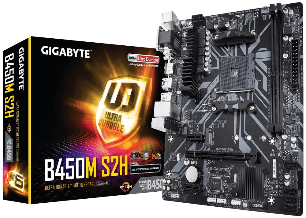 Mainboard|GIGABYTE|AMD B450|SAM4|MicroATX|3xPCI-Express 16x|1xM.2|Memory DDR4|Memory slots 2|1x15pin D-sub|1xDVI|1xHDMI|1xAudio-In|1xAudio-Out|1xMicrophone|2xUSB 2.0|4xUSB 3.1|2xPS/2|1xRJ45|B450MS2H