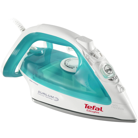 TEFAL Easygliss Iron FV3951E0 Blue/ white, 2400 W, Steam iron, Continuous steam 35 g/min, Steam boost performance 120 g/min, Anti-drip function, Anti-scale system, Vertical steam function, Water tank capacity 270 ml
