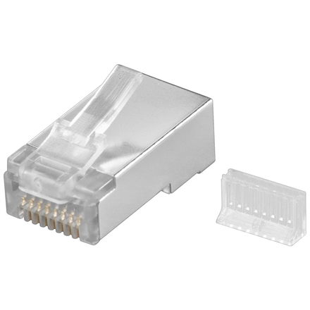 Goobay 68079 RJ45 plug, CAT 5e STP shielded, transparent