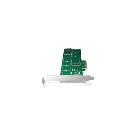 Icy Box IB-PCI209  PCIe-Card,  1x M.2 SATA SSD zu SATA III + 1x M.2 PCIe SSD to PCIe x4 Host Full Profile