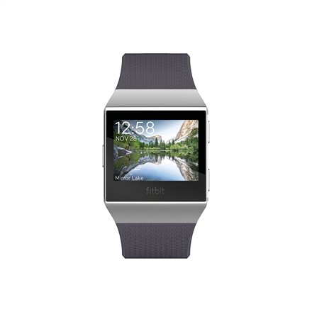 Fitbit Ionic Smart watch, GPS (satellite), LCD, Touchscreen, Heart rate monitor, Activity monitoring 24/7, Bluetooth, Charcoal/Smoke gray