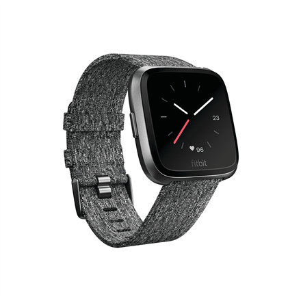 Fitbit Versa Smart watch, NFC, Color LCD, Touchscreen, Heart rate monitor, Activity monitoring 24/7, Waterproof, Bluetooth, Charcoal Woven
