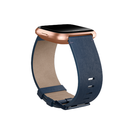 Fitbit Versa Accessory Leather Band Navy - Large