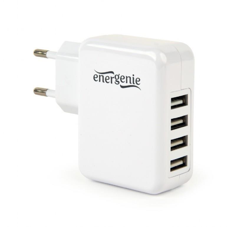 CHARGER USB UNIVERSAL WHITE/4PORT EG-U4AC-02 GEMBIRD