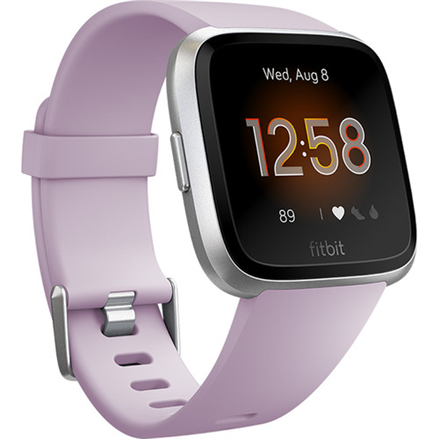 Fitbit Versa Lite Smart watch, LCD, Touchscreen, Heart rate monitor, Activity monitoring 24/7, Waterproof, Bluetooth, Lilac/Silver Aluminum