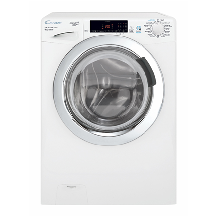 Candy Washing Machine GVS 138TC3-S Front loading, Washing capacity 8 kg, 1300 RPM, A+++, Depth 52 cm, Width 60 cm, White, NFC, Steam function, LCD, Display, Yes,