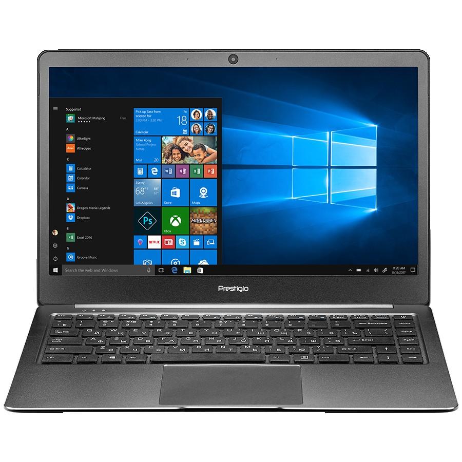 """Prestigio SmartBook 141S, 14.1""""(1920*1080) IPS (anti-Glare), Linux, up to 2.4GHz DC Intel Celeron N3350, 4GB DDR, 128GB Flash, BT 4.0, WiFi, Micro HDMI, SSD slot(M.2), 0.3MP Cam, EN+RU kbd, 5000mAh, 7.4V bat, Dark grey"""