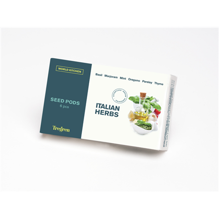 Tregren World Kitchen Italian Herbs, 6 seed pods: basil, marjoram, mint, oregano, parsley, thyme, SEEDPOD92