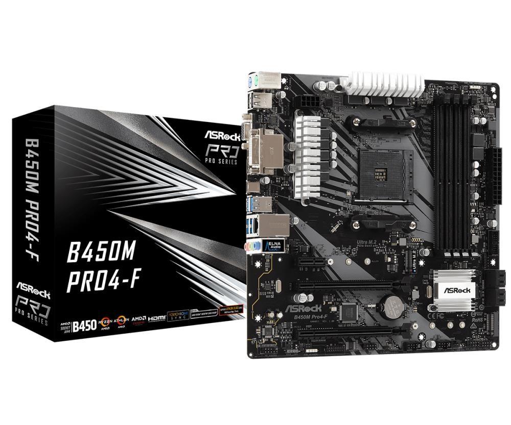 Mainboard|ASROCK|AMD B450|SAM4|MicroATX|1xPCI-Express 2.0 1x|1xPCI-Express 2.0 16x|1xPCI-Express 3.0 16x|2xM.2|Memory DDR4|Memory slots 4|1x15pin D-sub|1xDVI|1xHDMI|2xUSB 2.0|4xUSB 3.1|1xUSB type C|2xPS/2|1xRJ45|3xAudio port|B450MPRO4-F