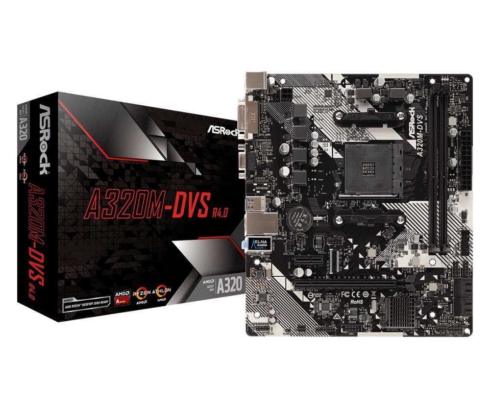 Mainboard|ASROCK|AMD A320|SAM4|MicroATX|1xPCI-Express 2.0 1x|1xPCI-Express 3.0 16x|Memory DDR4|Memory slots 2|1x15pin D-sub|1xDVI|1xAudio-In|1xAudio-Out|1xMicrophone|2xUSB 2.0|4xUSB 3.1|1xPS/2|1xRJ45|A320M-DVSR4.0