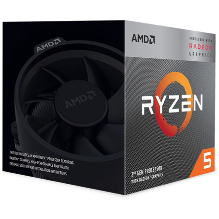 AMD AMD Ryzen 5 3400G, 3.7 GHz, AM4, Processor threads 8, Packing Retail, Processor cores 4, Component for PC