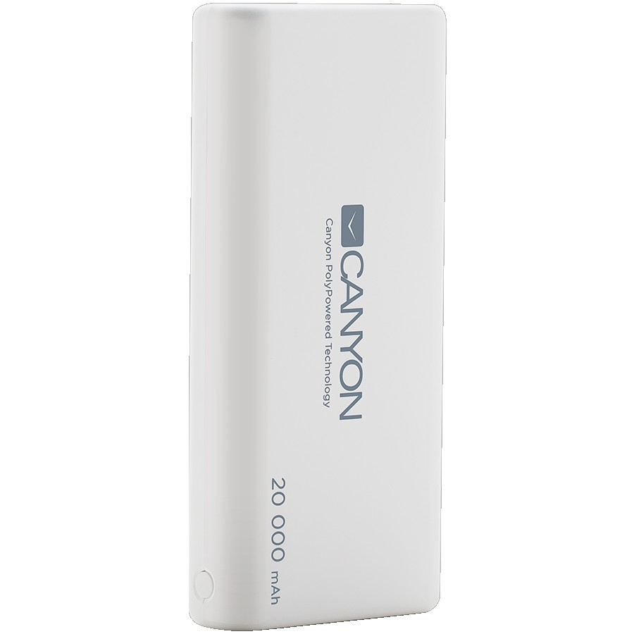 CANYON PB-204 Power bank 20000mAh Li-poly battery, Input 5V/2.1A, Output 5V/2.1A(Max), with Smart IC, White, 3in1 USB cable length 0.3m, 140*64*23.5mm, 0.361Kg