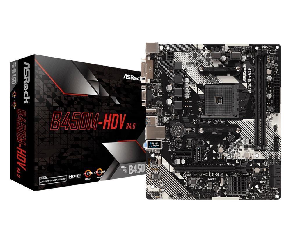 Mainboard|ASROCK|AMD B450|SAM4|MicroATX|1xPCI-Express 2.0 1x|1xPCI-Express 3.0 16x|1xM.2|Memory DDR4|Memory slots 2|1x15pin D-sub|1xDVI|1xHDMI|2xUSB 2.0|4xUSB 3.1|1xPS/2|1xRJ45|3xAudio port|B450M-HDVR4.0