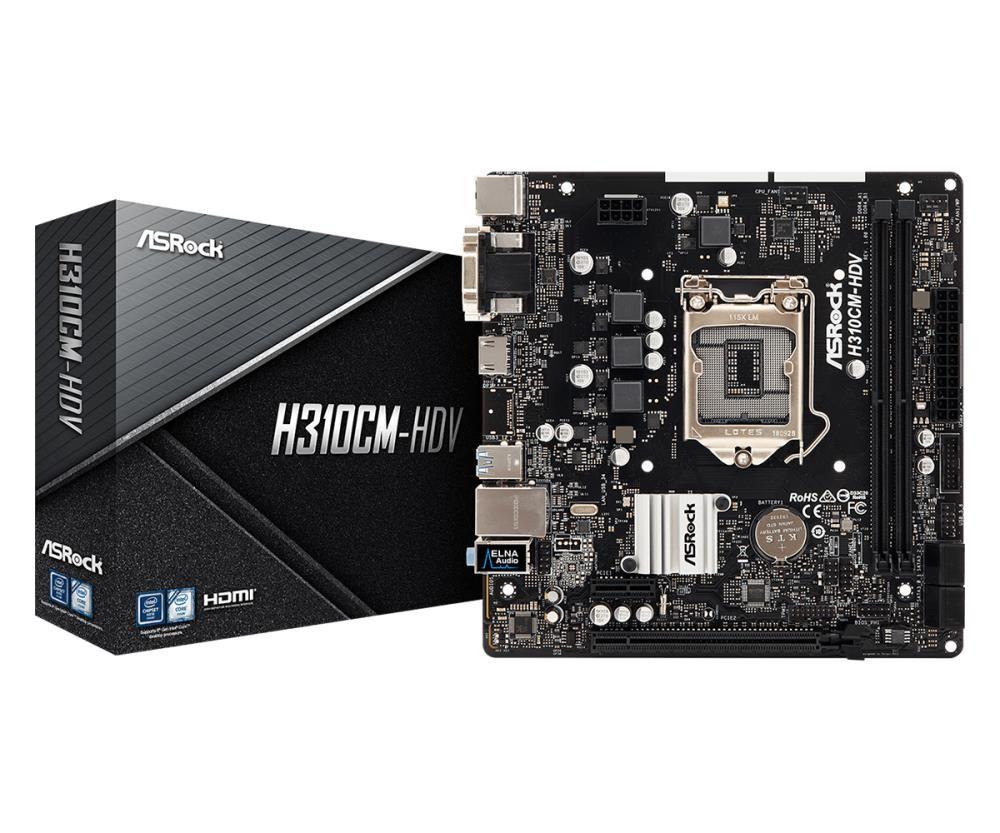 Mainboard|ASROCK|Intel H310 Express|LGA1151|MicroATX|1xPCI-Express 2.0 1x|1xPCI-Express 3.0 16x|Memory DDR4|Memory slots 2|1x15pin D-sub|1xDVI|1xHDMI|1xAudio-In|1xAudio-Out|1xMicrophone|4xUSB 2.0|2xUSB 3.1|1xPS/2|1xRJ45|H310CM-HDV