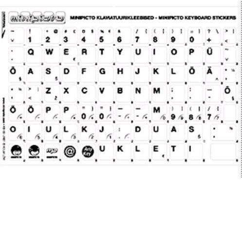 Klaviatuurikleebis EST läbipaistev/valge sümbol