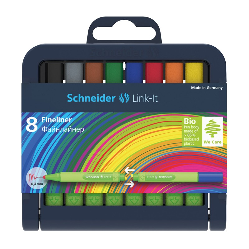 Tindipliiatsite komplekt Schneider Link-It 0,4mm, roheline korpus, 8 värvi